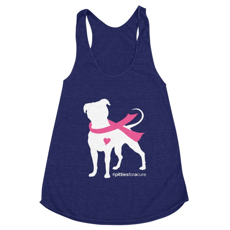 Pitties for a Cure - White Pittie Women's Racerback Triblend Tank by Pittie Chicks