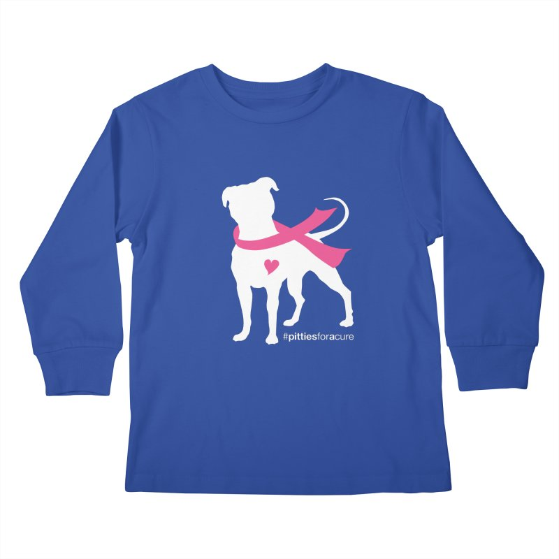 Pitties for a Cure - White Pittie Kids Longsleeve T-Shirt by Pittie Chicks