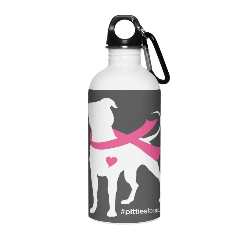 Pitties for a Cure - White Pittie Accessories Water Bottle by Pittie Chicks