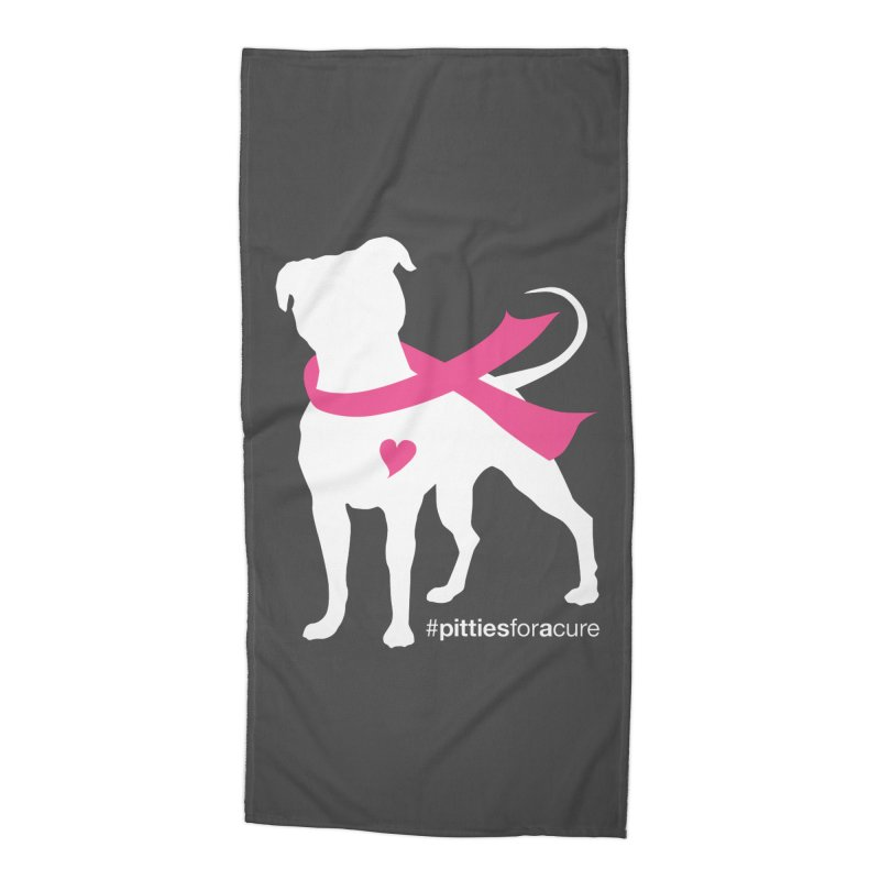 Pitties for a Cure - White Pittie Accessories Beach Towel by Pittie Chicks