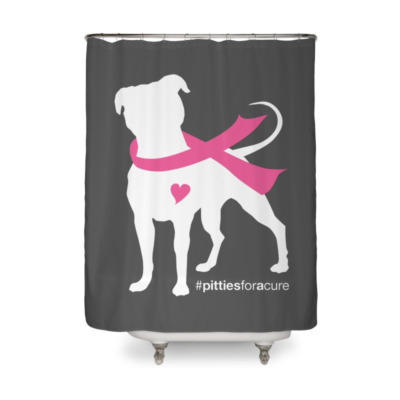 Pitties for a Cure - White Pittie Home Shower Curtain by Pittie Chicks