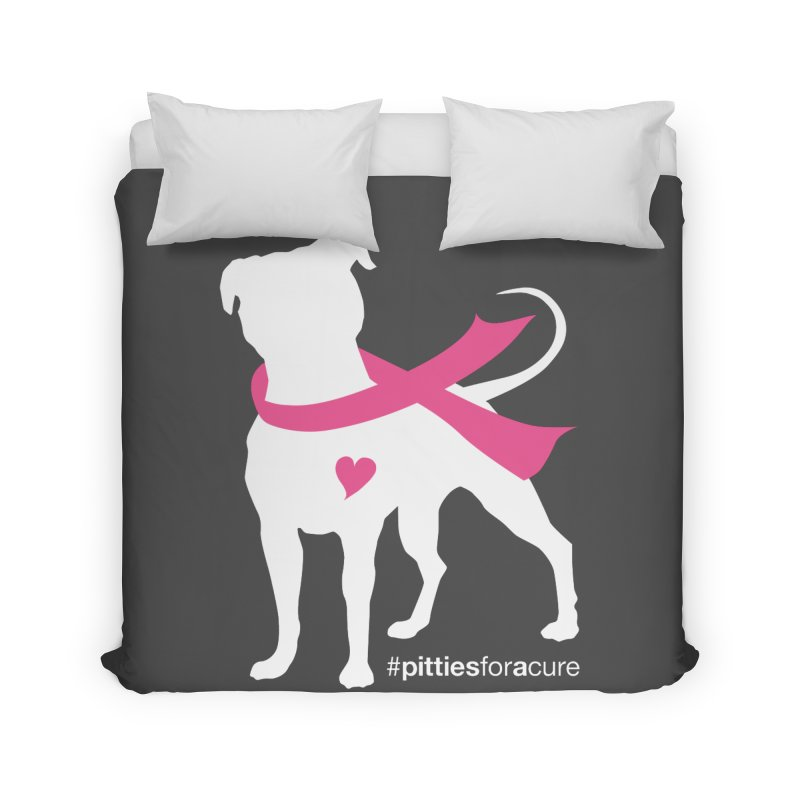 Pitties for a Cure - White Pittie Home Duvet by Pittie Chicks