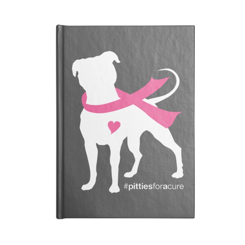 Pitties for a Cure - White Pittie Accessories Lined Journal Notebook by Pittie Chicks