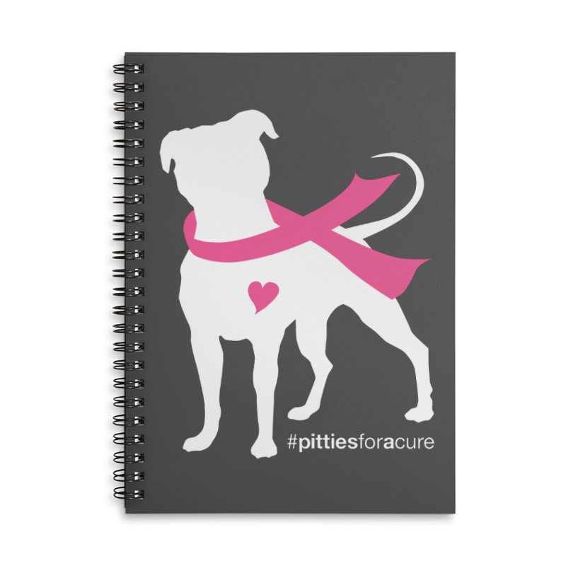 Pitties for a Cure - White Pittie Accessories Lined Spiral Notebook by Pittie Chicks