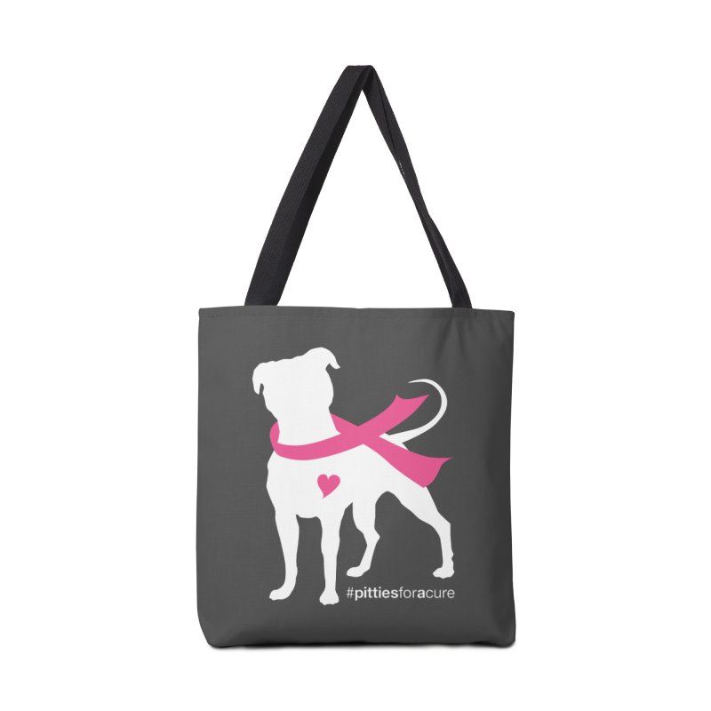 Pitties for a Cure - White Pittie Accessories Tote Bag Bag by Pittie Chicks