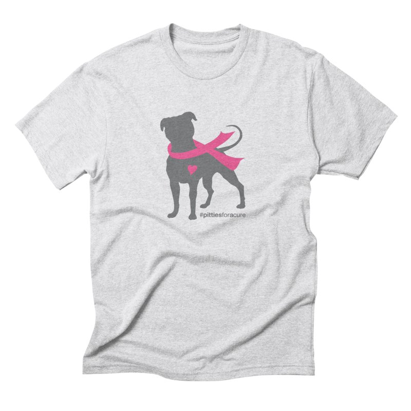 Pitties for a Cure - Charcoal Pittie Men's T-Shirt by Pittie Chicks