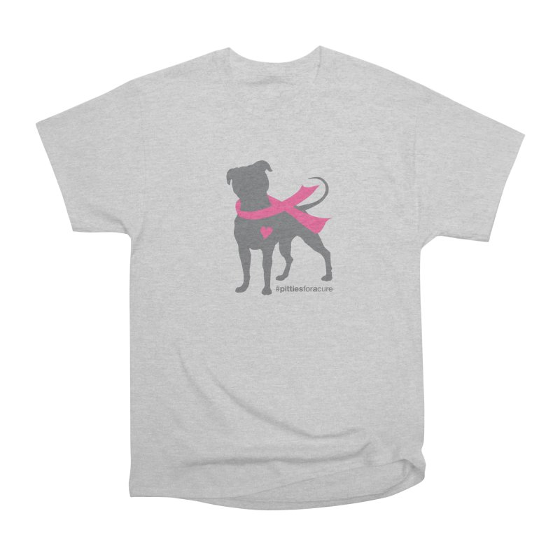 Pitties for a Cure - Charcoal Pittie Women's Heavyweight Unisex T-Shirt by Pittie Chicks