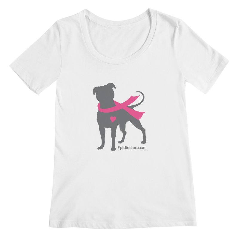 Pitties for a Cure - Charcoal Pittie Women's Regular Scoop Neck by Pittie Chicks