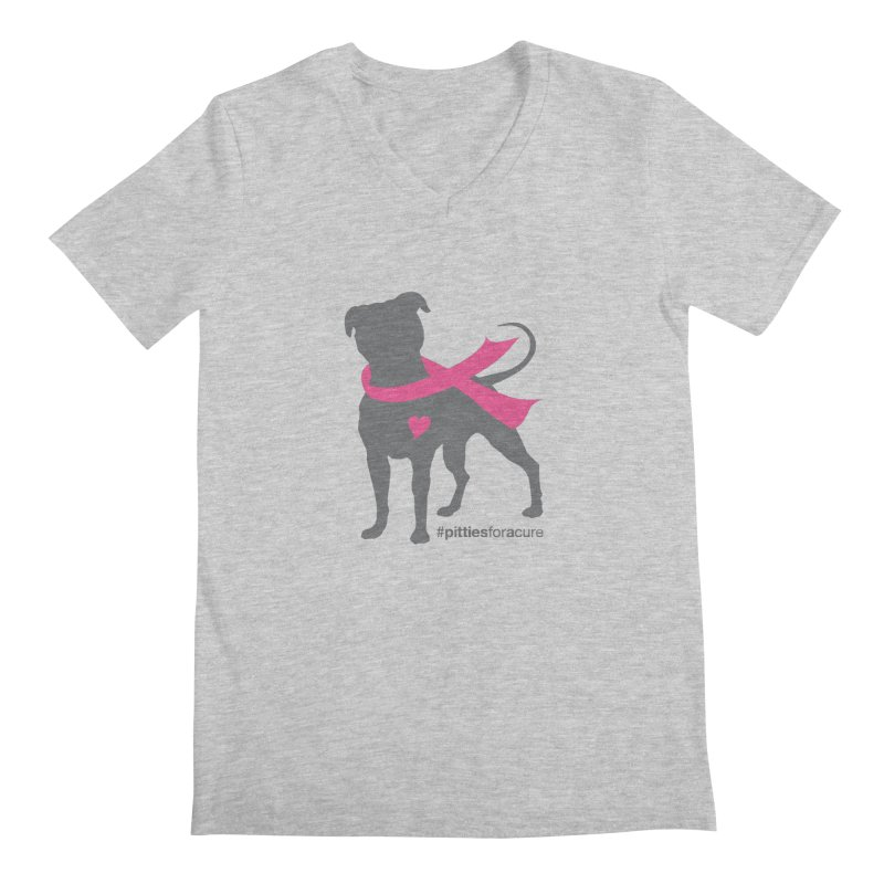 Pitties for a Cure - Charcoal Pittie Men's Regular V-Neck by Pittie Chicks