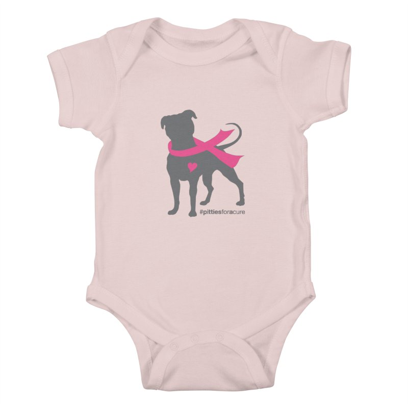 Pitties for a Cure - Charcoal Pittie Kids Baby Bodysuit by Pittie Chicks