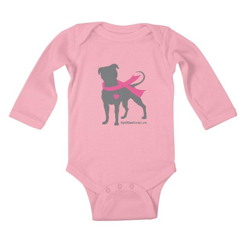 Pitties for a Cure - Charcoal Pittie Kids Baby Longsleeve Bodysuit by Pittie Chicks