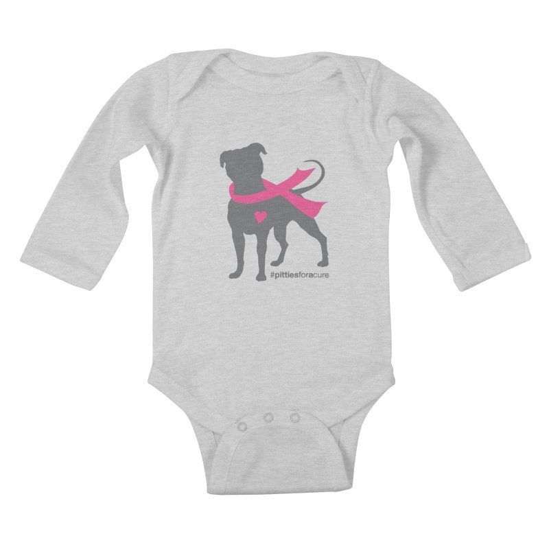 Pitties for a Cure - Charcoal Pittie Kids Baby Longsleeve Bodysuit by Pittie Chicks