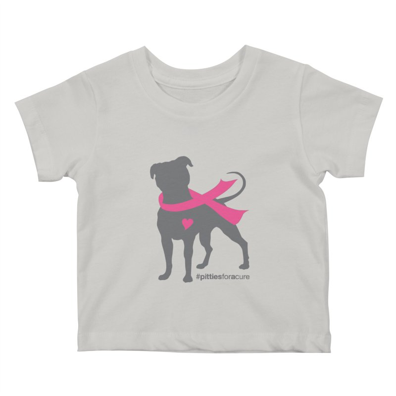 Pitties for a Cure - Charcoal Pittie Kids Baby T-Shirt by Pittie Chicks