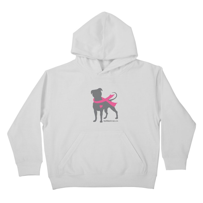 Pitties for a Cure - Charcoal Pittie Kids Pullover Hoody by Pittie Chicks