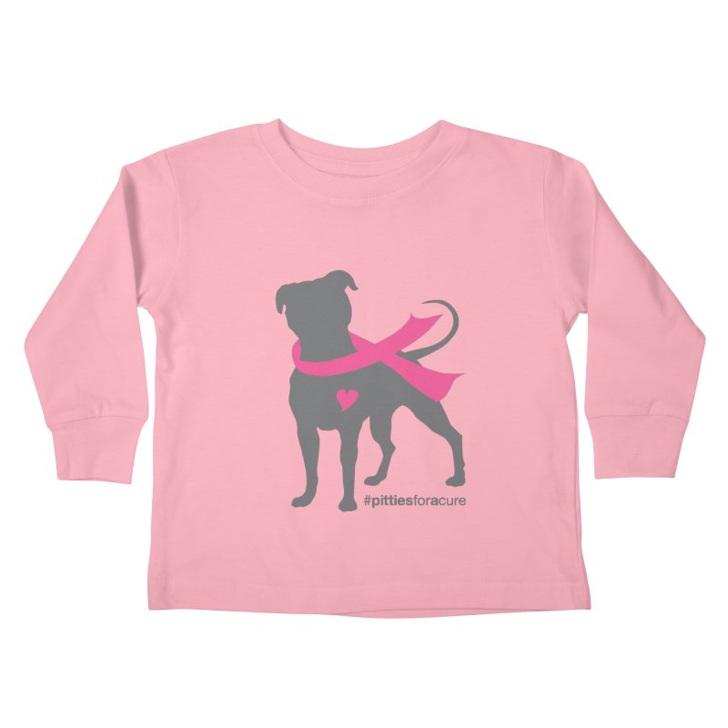 Pitties for a Cure - Charcoal Pittie Kids Toddler Longsleeve T-Shirt by Pittie Chicks