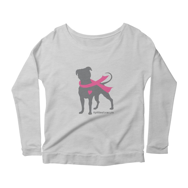 Pitties for a Cure - Charcoal Pittie Women's Longsleeve Scoopneck  by Pittie Chicks