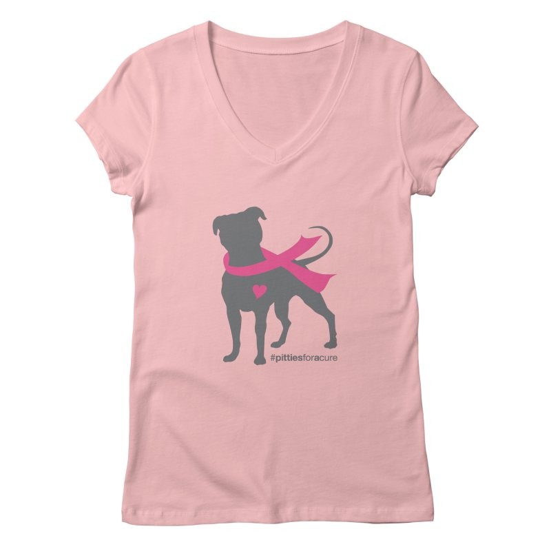 Pitties for a Cure - Charcoal Pittie Women's V-Neck by Pittie Chicks