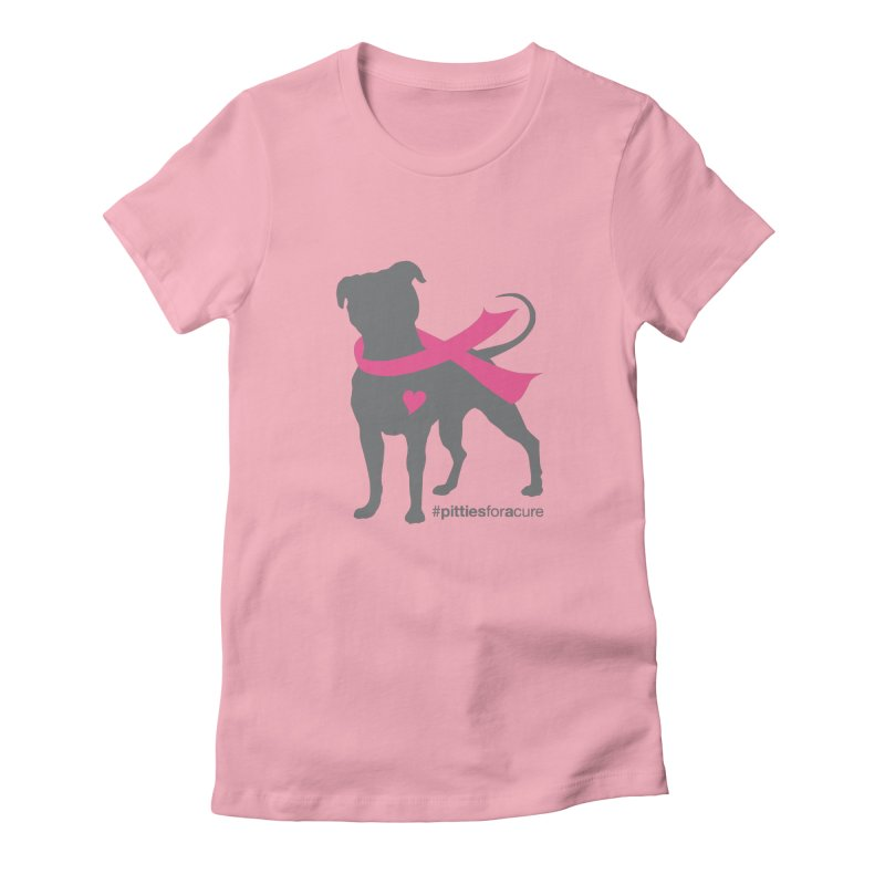 Pitties for a Cure - Charcoal Pittie Women's Fitted T-Shirt by Pittie Chicks