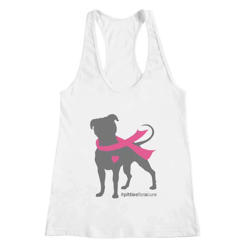 Pitties for a Cure - Charcoal Pittie Women's Racerback Tank by Pittie Chicks