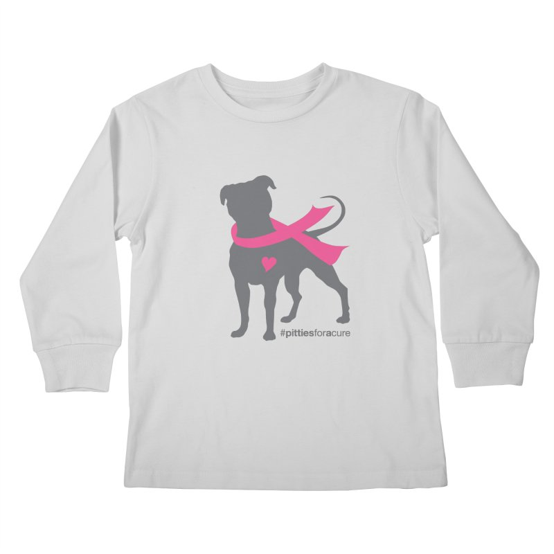 Pitties for a Cure - Charcoal Pittie Kids Longsleeve T-Shirt by Pittie Chicks