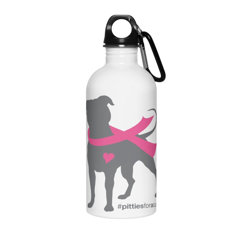 Pitties for a Cure - Charcoal Pittie Accessories Water Bottle by Pittie Chicks
