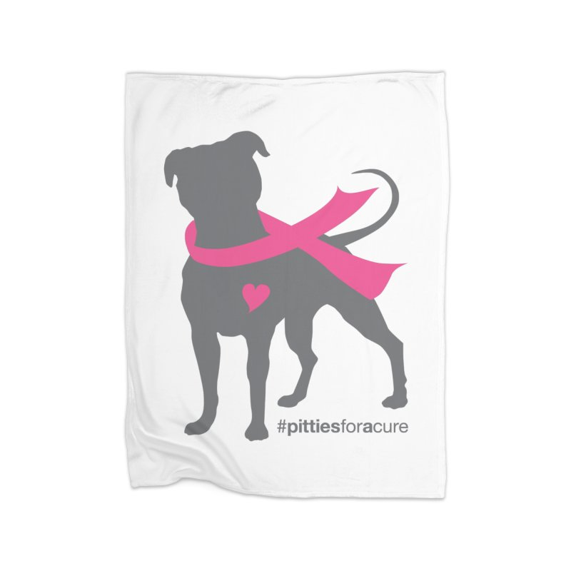 Pitties for a Cure - Charcoal Pittie Home Fleece Blanket Blanket by Pittie Chicks