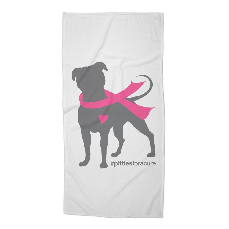 Pitties for a Cure - Charcoal Pittie Accessories Beach Towel by Pittie Chicks