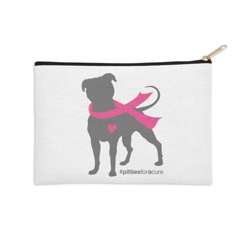Pitties for a Cure - Charcoal Pittie Accessories Zip Pouch by Pittie Chicks