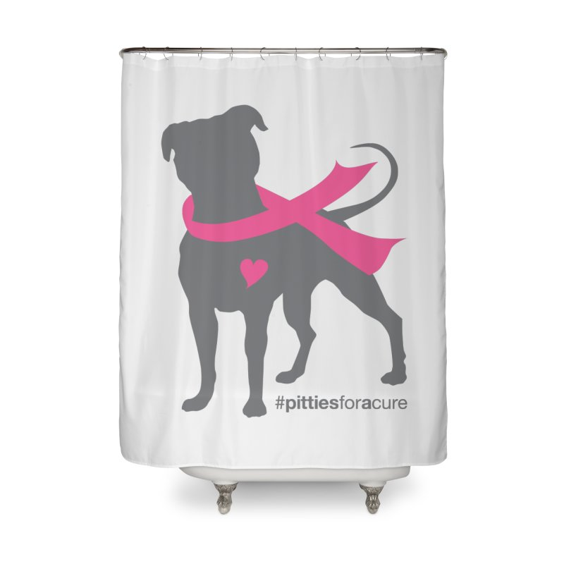 Pitties for a Cure - Charcoal Pittie Home Shower Curtain by Pittie Chicks