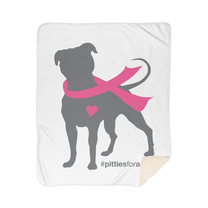 Pitties for a Cure - Charcoal Pittie Home Sherpa Blanket Blanket by Pittie Chicks