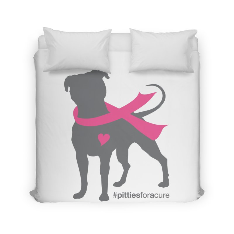 Pitties for a Cure - Charcoal Pittie Home Duvet by Pittie Chicks