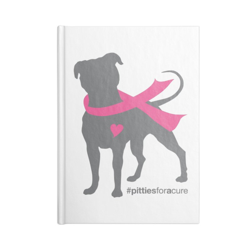 Pitties for a Cure - Charcoal Pittie Accessories Blank Journal Notebook by Pittie Chicks