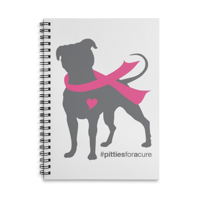 Pitties for a Cure - Charcoal Pittie Accessories Lined Spiral Notebook by Pittie Chicks
