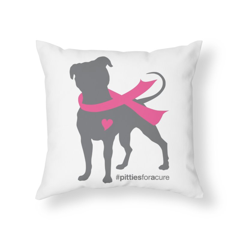 Pitties for a Cure - Charcoal Pittie Home Throw Pillow by Pittie Chicks