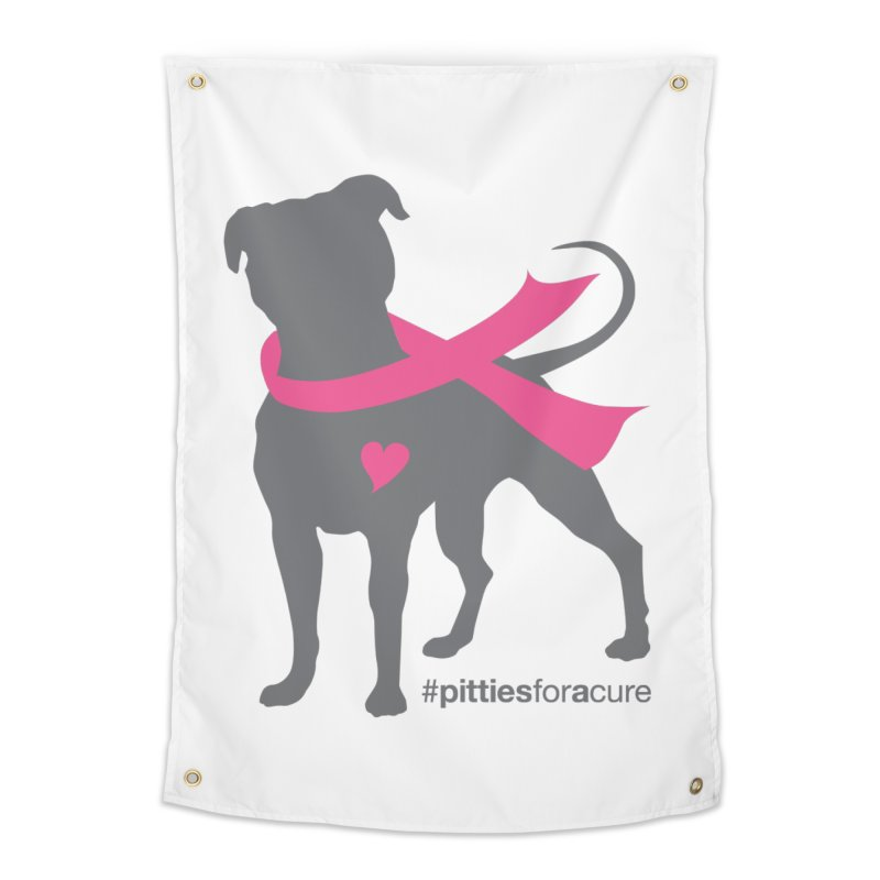 Pitties for a Cure - Charcoal Pittie Home Tapestry by Pittie Chicks