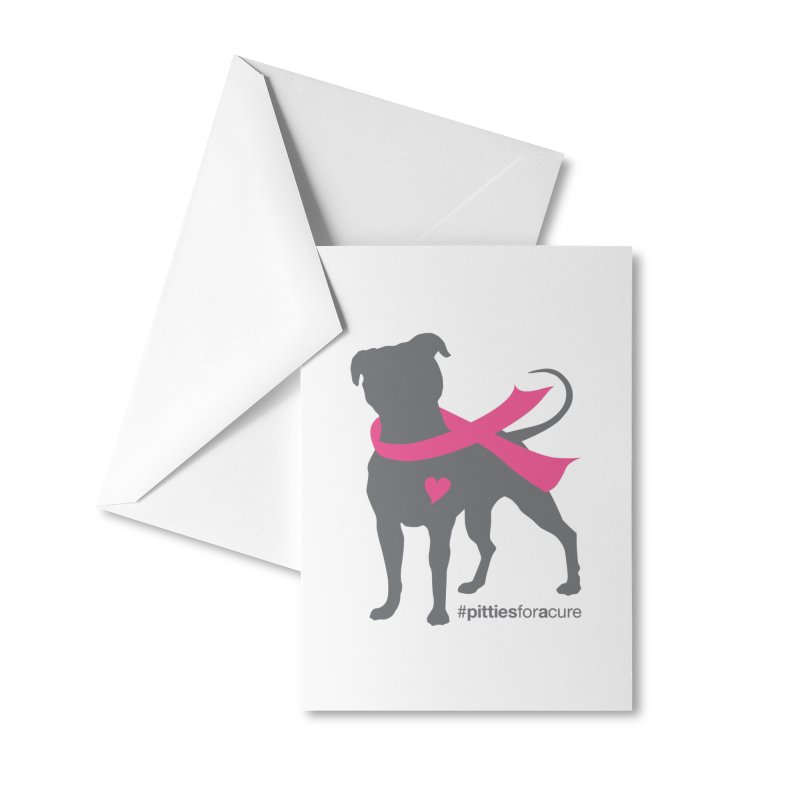 Pitties for a Cure - Charcoal Pittie Accessories Greeting Card by Pittie Chicks
