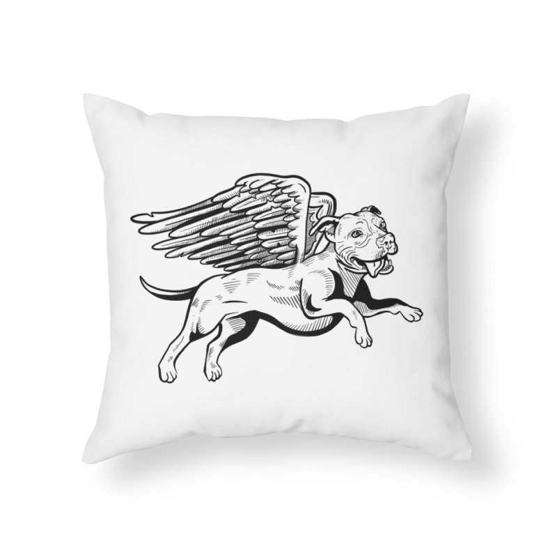 Helping Hurricane Harvey : Flying Pit Home Throw Pillow by Pittie Chicks