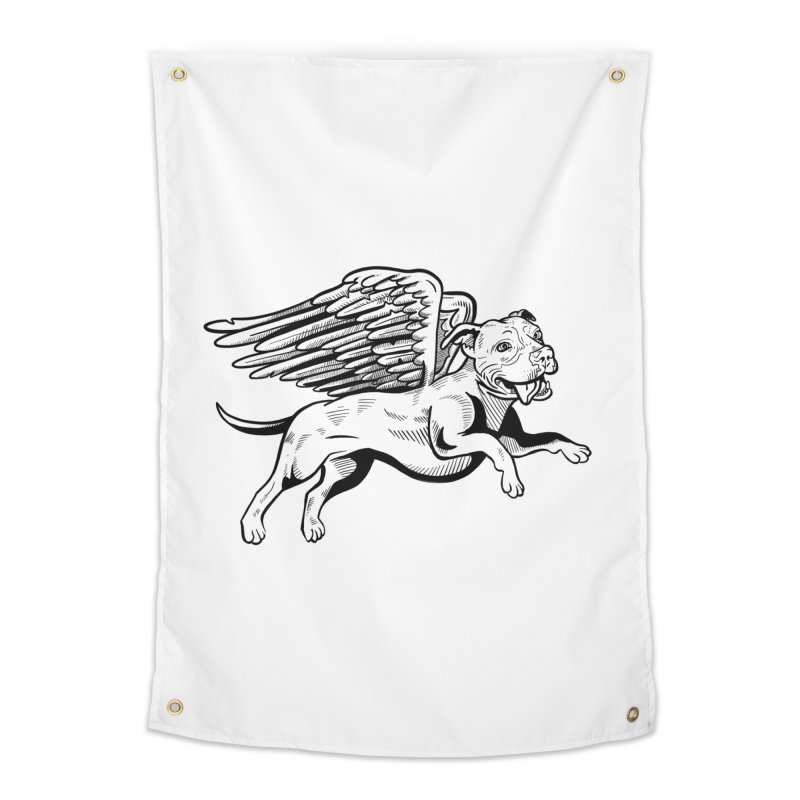 Flying Pit Home Tapestry by Pittie Chicks