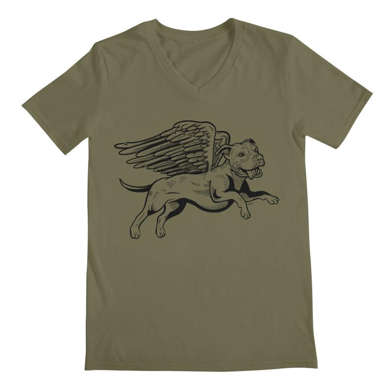 Flying Pit Men's Regular V-Neck by Pittie Chicks