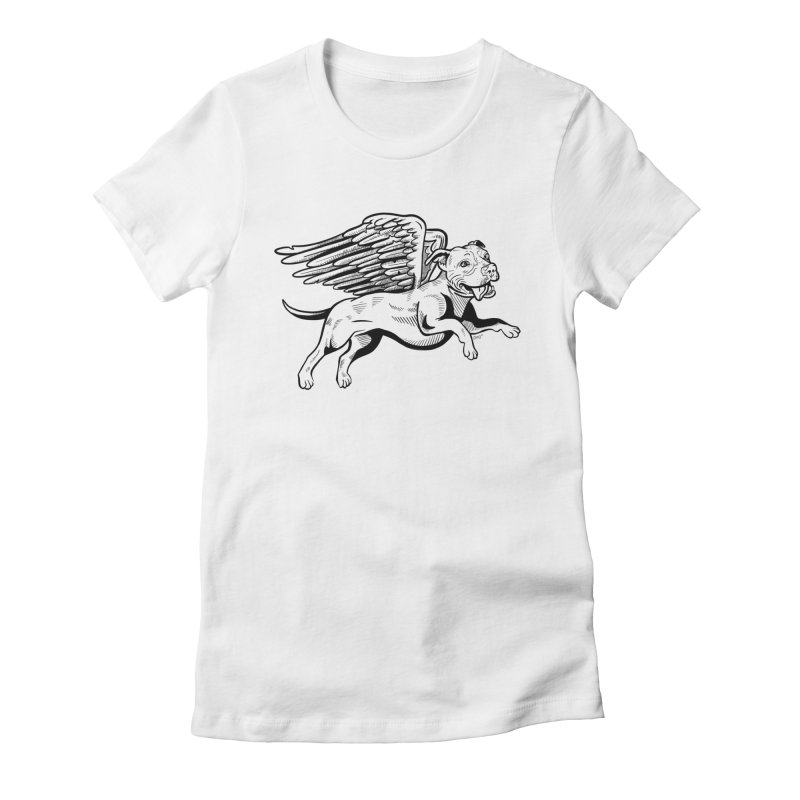 Flying Pit Women's Fitted T-Shirt by Pittie Chicks