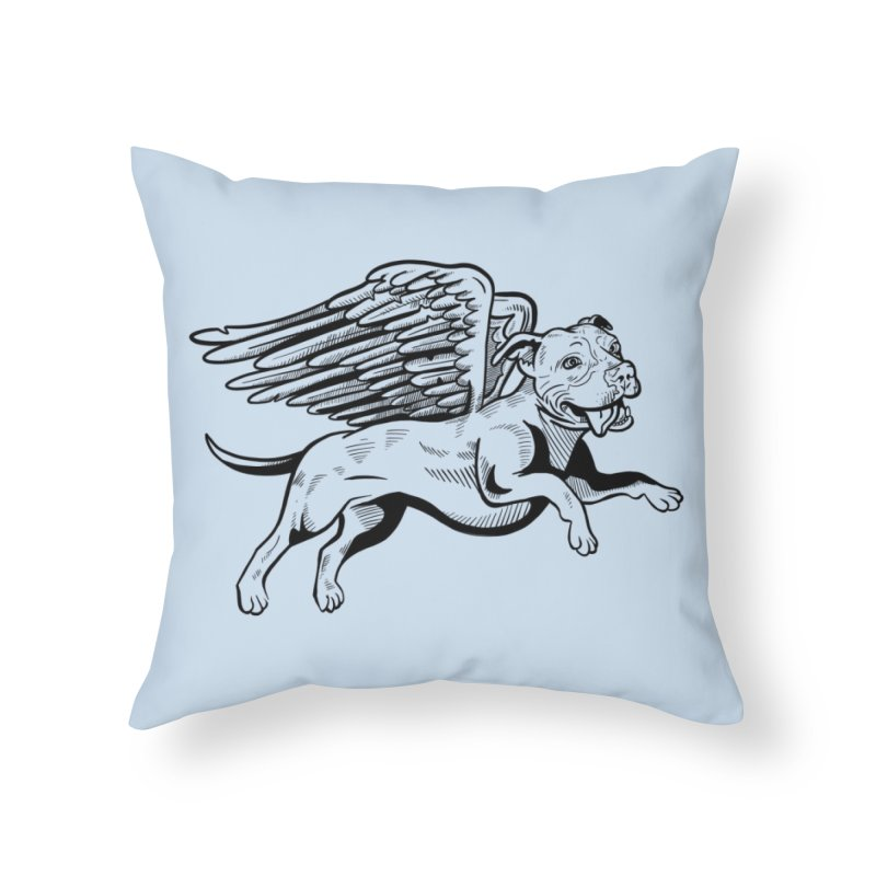 Flying Pit Home Throw Pillow by Pittie Chicks