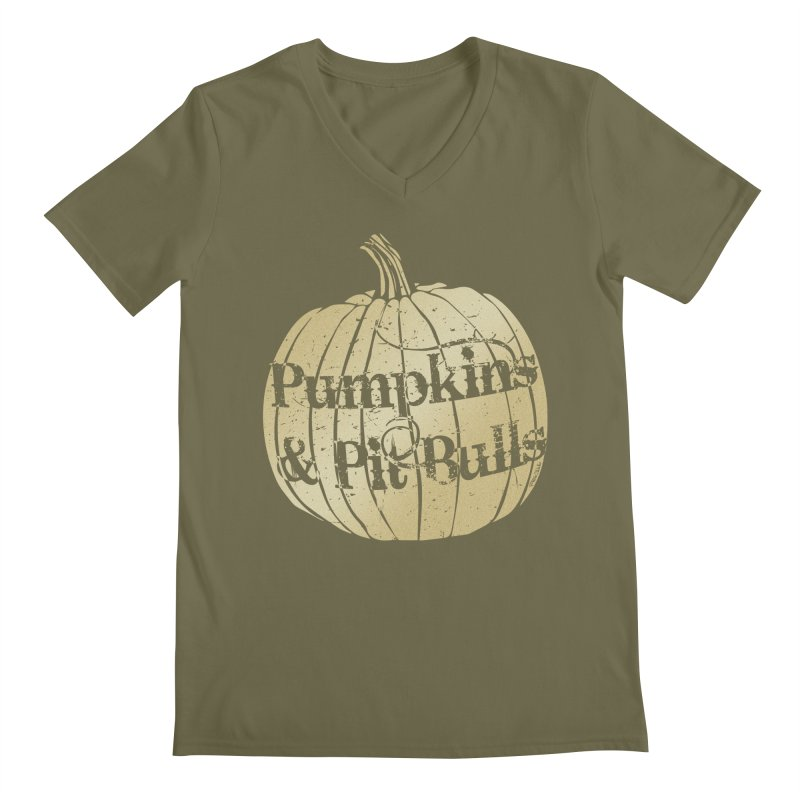 Pumpkins & Pit Bulls Men's Regular V-Neck by Pittie Chicks