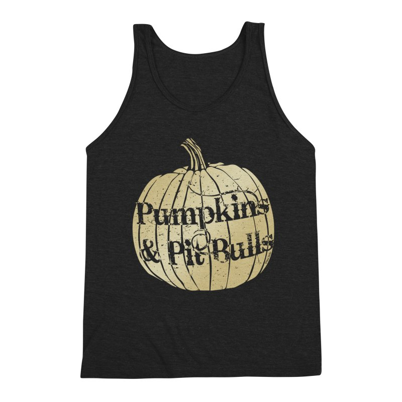 Pumpkins & Pit Bulls Men's Triblend Tank by Pittie Chicks
