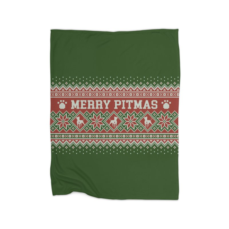 Merry Pitmas Ugly Sweater - Holly Home Fleece Blanket Blanket by Pittie Chicks