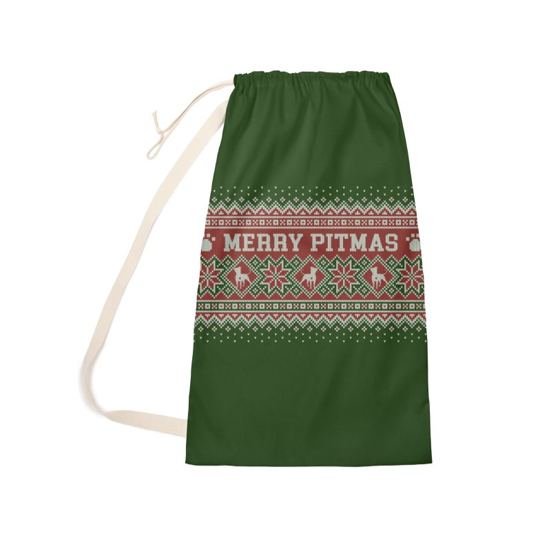 Merry Pitmas Ugly Sweater - Holly Accessories Laundry Bag Bag by Pittie Chicks