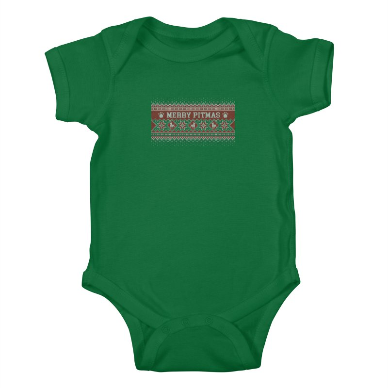 Merry Pitmas Ugly Sweater - Holly Kids Baby Bodysuit by Pittie Chicks