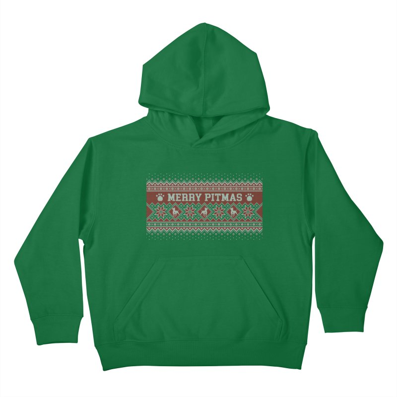 Merry Pitmas Ugly Sweater - Holly Kids Pullover Hoody by Pittie Chicks