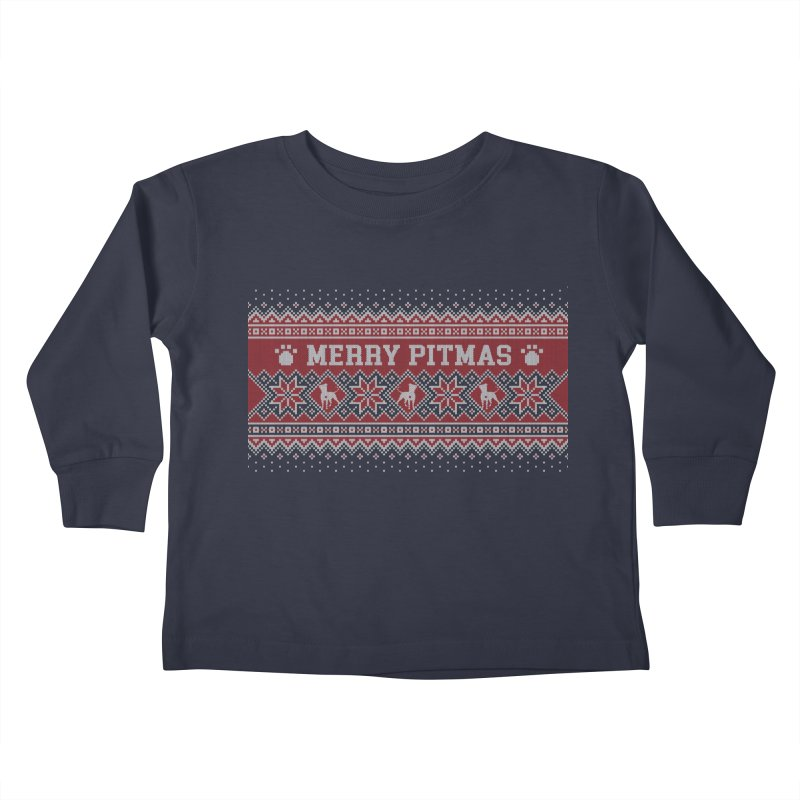Merry Pitmas Ugly Sweater - Holly Kids Toddler Longsleeve T-Shirt by Pittie Chicks