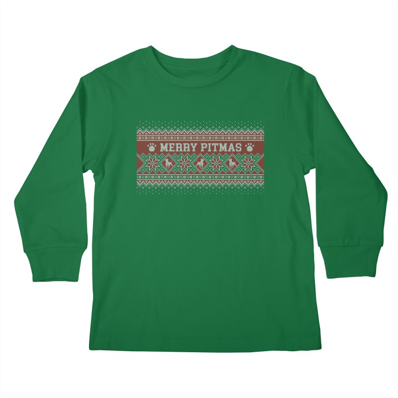 Merry Pitmas Ugly Sweater - Holly Kids Longsleeve T-Shirt by Pittie Chicks