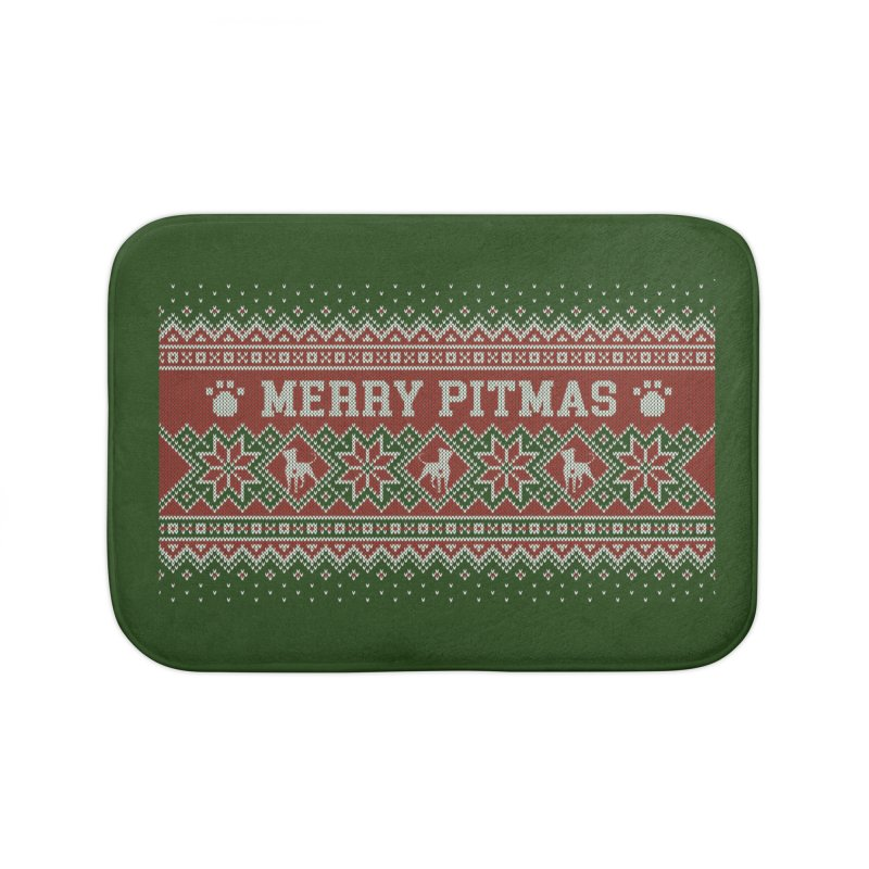 Merry Pitmas Ugly Sweater - Holly Home Bath Mat by Pittie Chicks